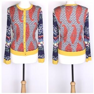 Tory Burch Merino Wool Multicolored Print Cardigan